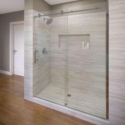 Vinesse 59 in. x 76 in. Semi-Frameless Sliding Shower Door and Fixed Panel in Chrome