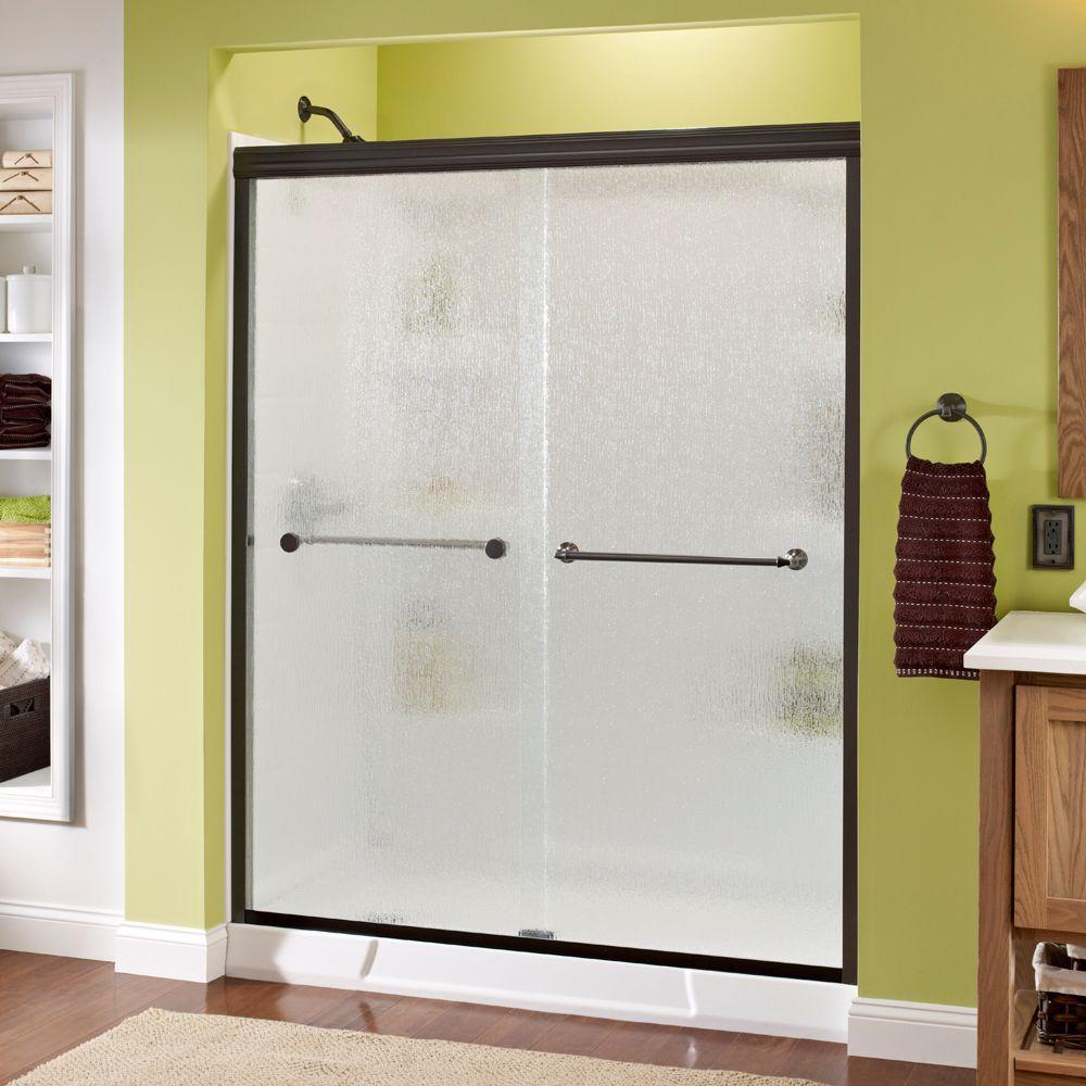 Semi-Frameless Sliding Shower Door in & Delta Mandara 60 in. x 70 in. Semi-Frameless Sliding Shower Door in ...