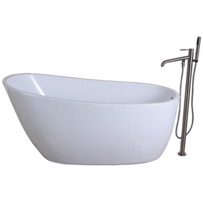 Aqua Eden Fusion 59 In Acrylic Flatbottom Bathtub In White And Freestanding Faucet In Brushed Nickel Hktrs592928a8 The Home Depot