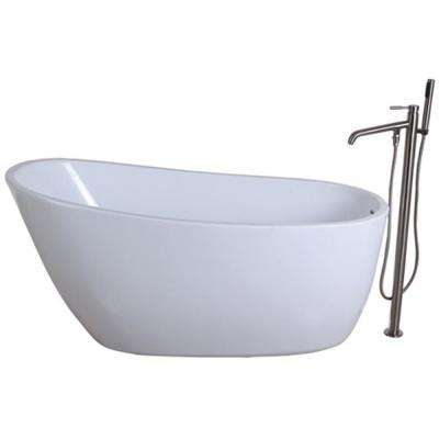 Fusion 4.9 ft. Acrylic Flatbottom Bathtub in White and Freestanding Faucet in Satin Nickel