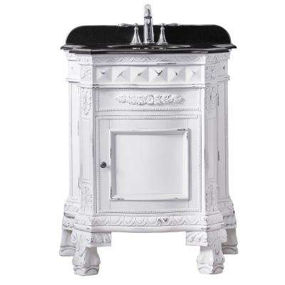 York 28 in. W x 20 in. D Vanity in Antique White with Granite Vanity Top in Black with White Basin