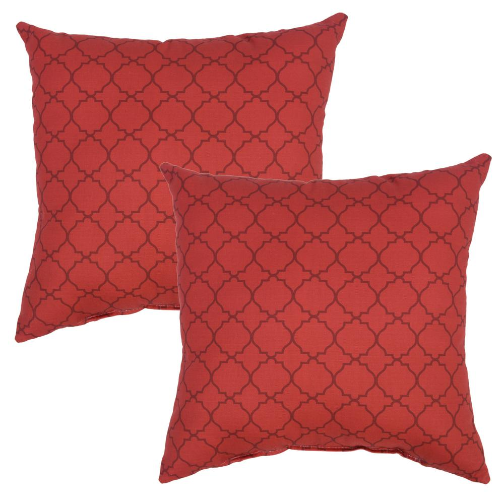 Chili Geo Square Outdoor Throw Pillow (2-Pack)