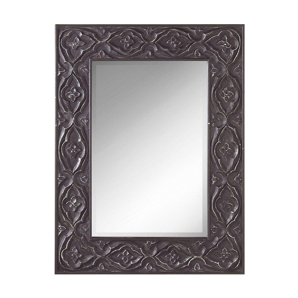 Filament Design Sundry 40 in. x 30 in. Brushed Silver Carved Framed Wall Mirror