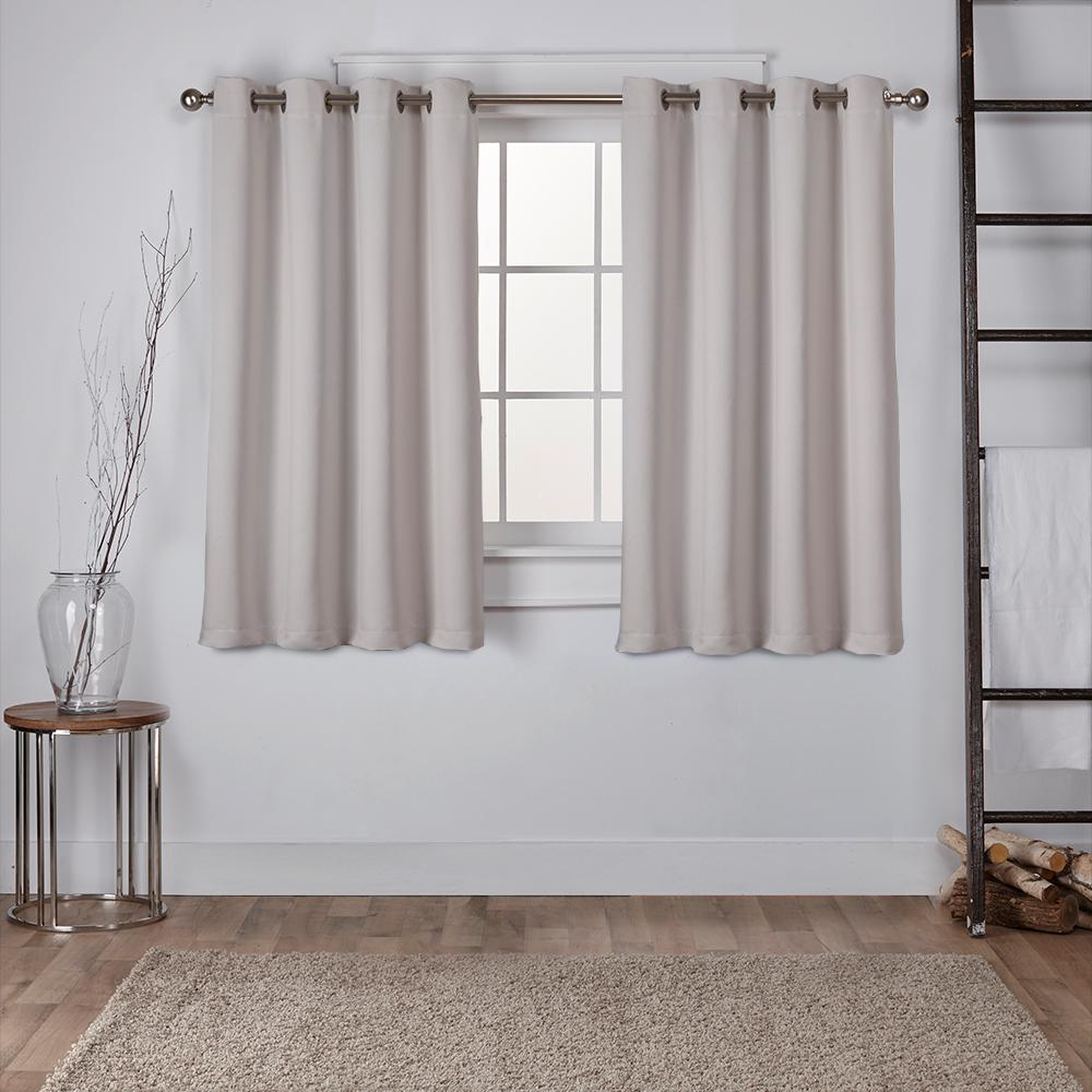 Sateen 52 in. W x 63 in. L Woven Blackout Grommet Top Curtain Panel in Silver (2 Panels)