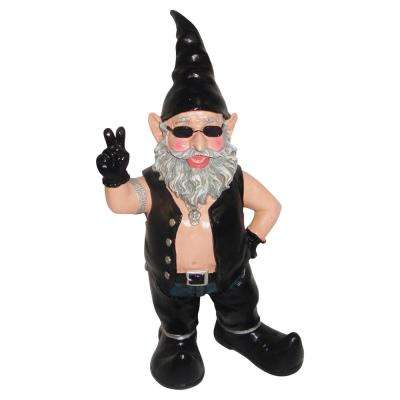 "14.5 in. H Peace Sign ""Biker Dude"" the Biker Gnome in Leather Motorcycle Riding Gear Statues"