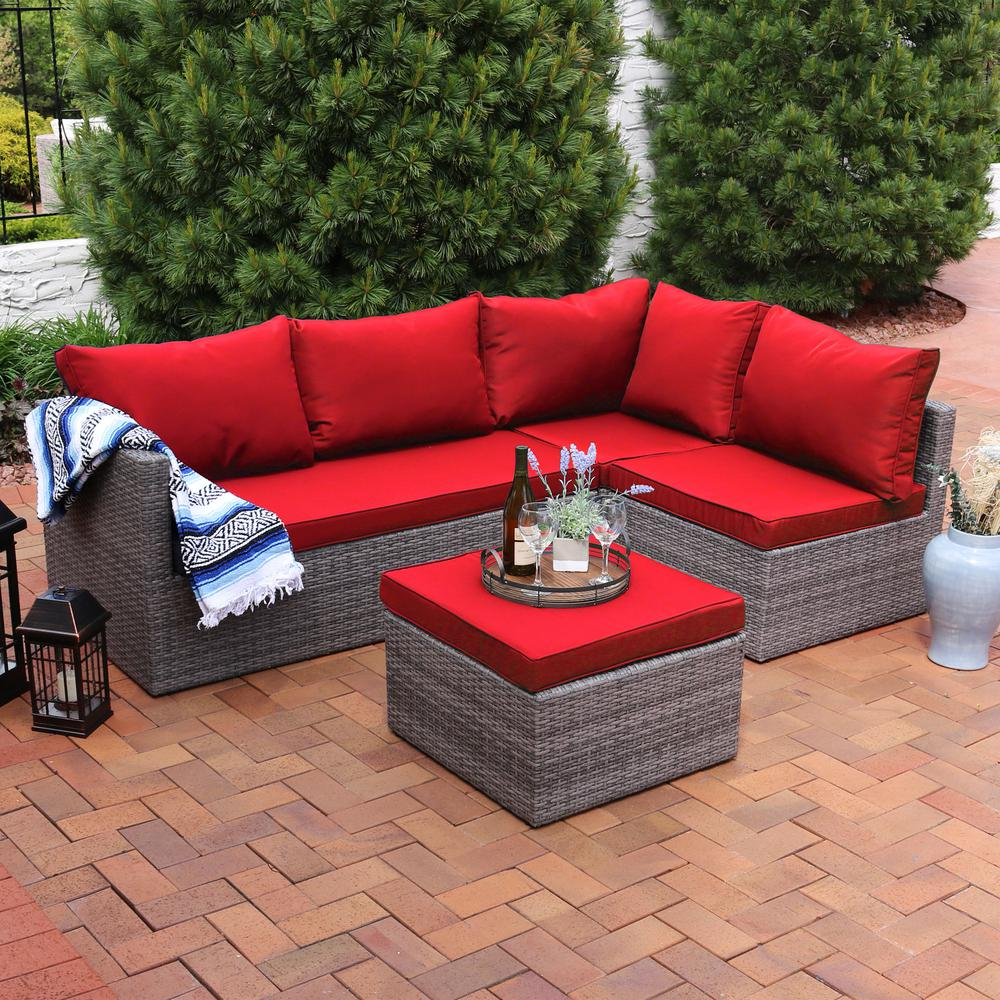 Sunnydaze Decor Port Antonio Gray 4-Piece Wicker Outdoor Sofa Sectional  Patio Furniture Set with Red Cushions