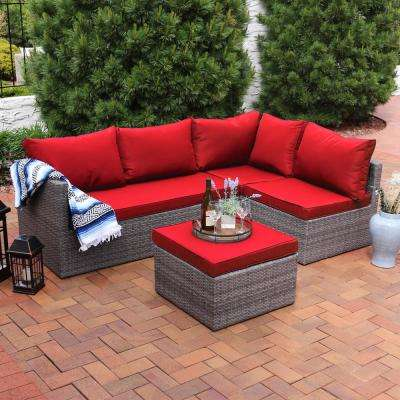 Port Antonio Gray 4-Piece Wicker Outdoor Sofa Sectional Patio Furniture Set with Red Cushions
