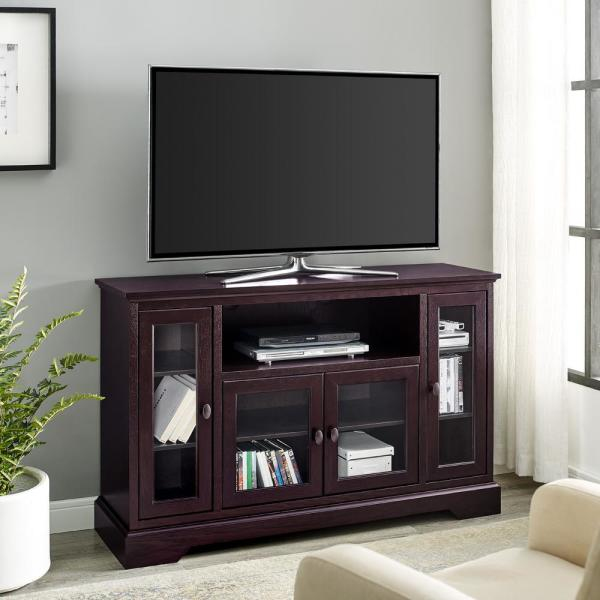Highboy 52 in. Espresso Composite TV Stand 55 in. with Glass Doors