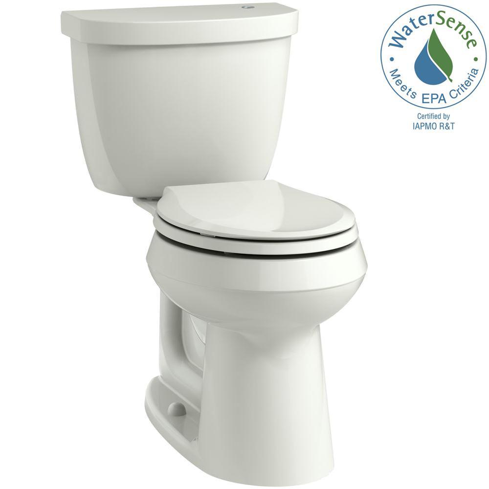 KOHLER Cimarron Touchless Comfort Height 2-Piece 1.28 GPF Single Flush Round Toilet in Dune