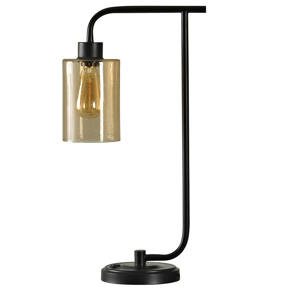 StyleCraft 24 in. Restoration Bronze Table Lamp with Opulance Finish Glass Shade