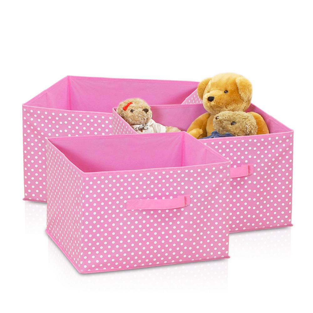 Laci Small Dot Pink Fabric Soft Storage Organizer (3-Pack)