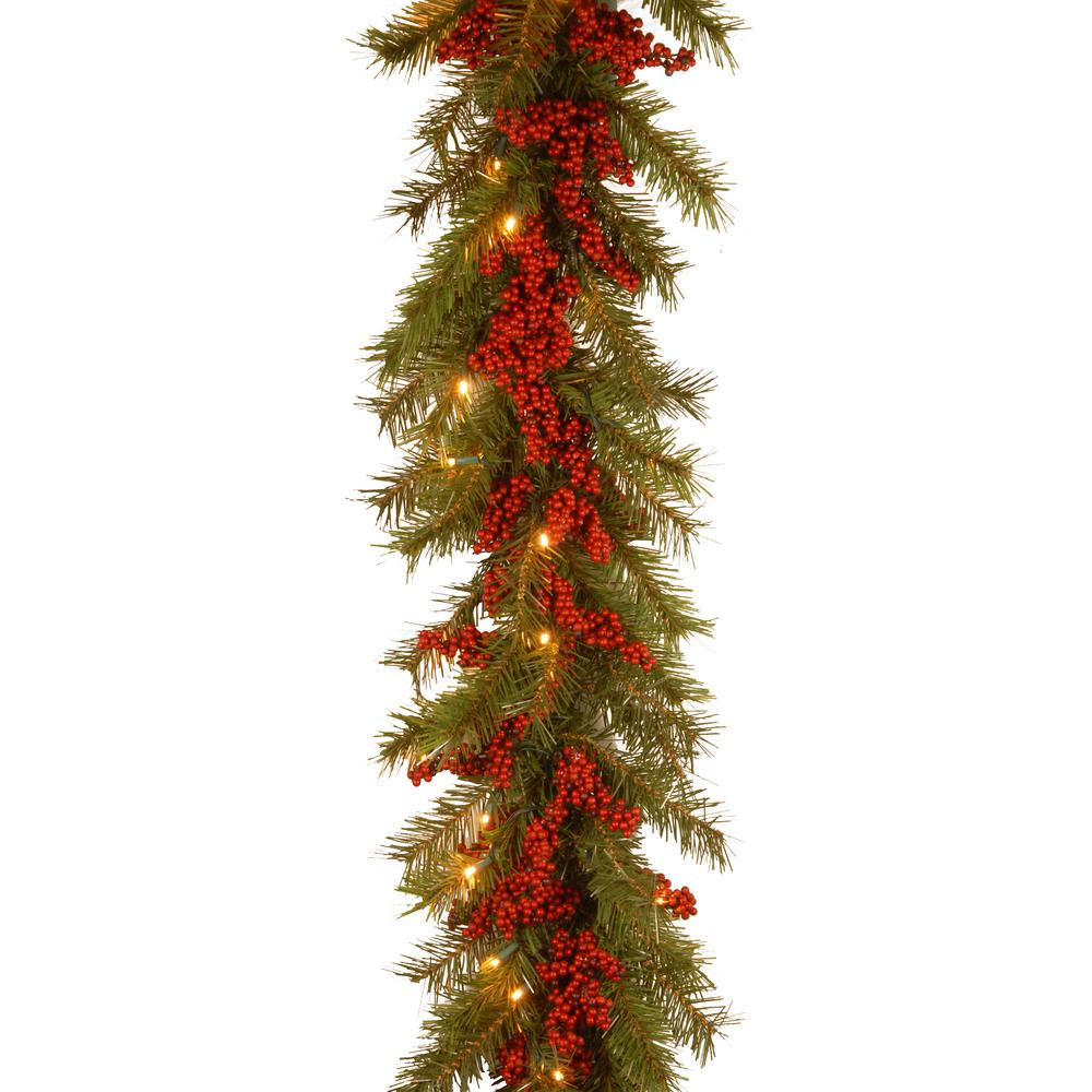 Decorative Collection 9 ft. Valley Pine Garland with Battery Operated Warm