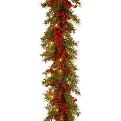 Decorative Collection 9 ft. Valley Pine Garland with Battery Operated Warm White LED Lights