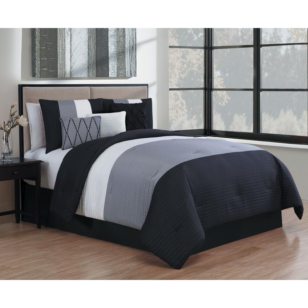 Manchester 7-Piece Black and Grey and White King Comforter Set