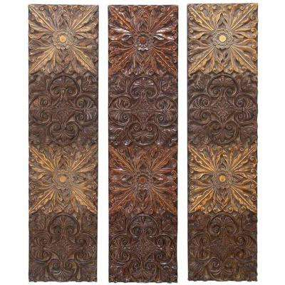 Rays 48 in. Brown Wall Plaques (Set of 3)