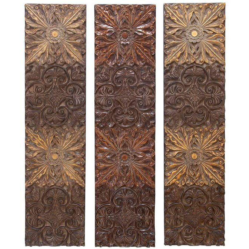 Home Decorators Collection Rays 48 in. Brown Wall Plaques (Set of 3)