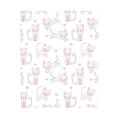 Super Soft Pink and White Purrdy Kitty Cat Polyester Fitted Crib Sheet