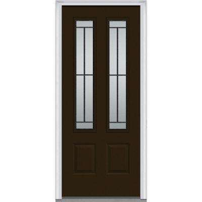 36 in. x 80 in. Madison Right-Hand Inswing 2-Lite Decorative 2-Panel Painted Fiberglass Smooth Prehung Front Door