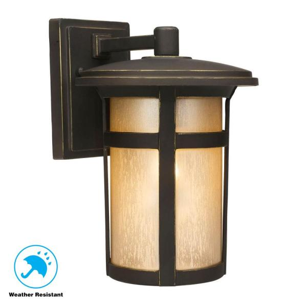Home Decorators Collection Round Craftsman 1 Light Dark Rubbed Bronze Outdoor Wall Lantern Sconce 23132 The Home Depot