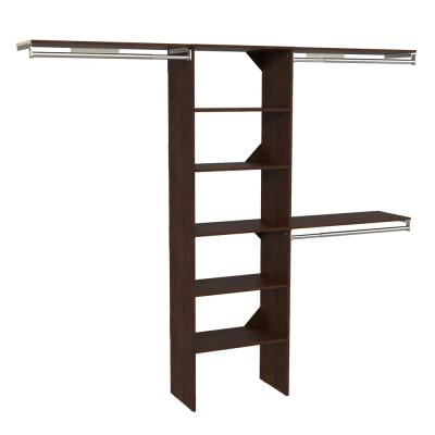 Style+ 73.12 in. W - 121.12 in. W Chocolate Basic Floor Mount Closet Kit with Top Shelves
