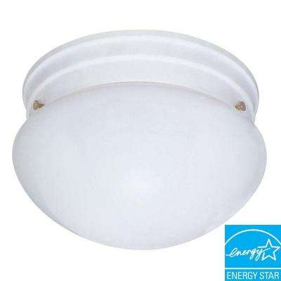 2-Light White Mushroom Flush Mount