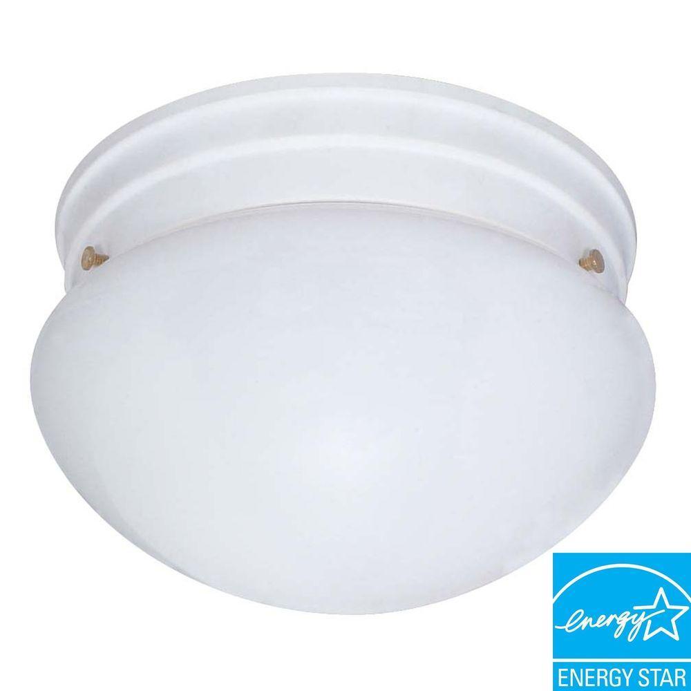 2-Light White Mushroom Flushmount