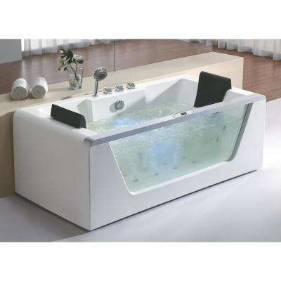 AM196ETL 71 in. Acrylic Flatbottom Whirlpool Bathtub in White