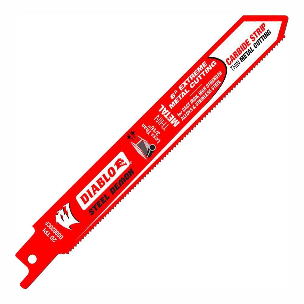 6 in. 20 Teeth per in. Steel Demon Carbide Strip Metal Cutting Reciprocating Blade