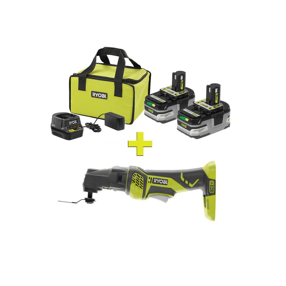RYOBI 18-Volt ONE+ LITHIUM+ HP 3.0 Ah Battery 2-Pack Starter Kit with Charger & Bag with ONE+ JobPlus & Multi-Tool Attachment