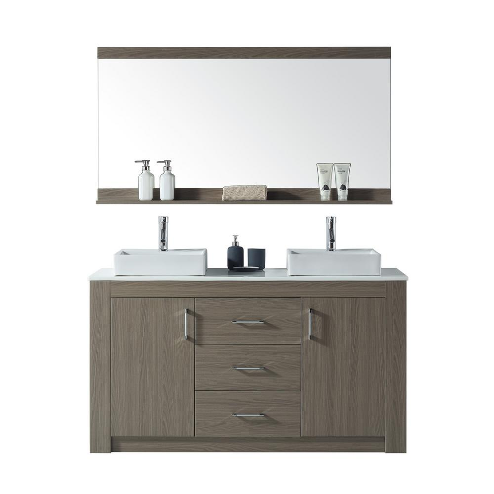 Home Decorators Collection Fraser 60 In W Double Vanity In White With Granite Vanity Top In