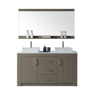 Virtu USA Tavian 60 inch W Double Vanity in Grey Oak with Stone Vanity Top in White with White Basin with Faucet and... by Virtu USA