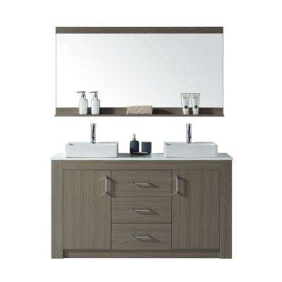 Tavian 60 in. W Double Vanity in Grey Oak with Stone Vanity Top in White with White Basin with Faucet and Mirror
