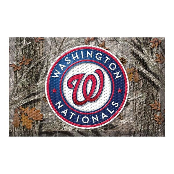 MLB - Washington Nationals 19 in. x 30 in. Outdoor Camo Scraper Mat Door Mat