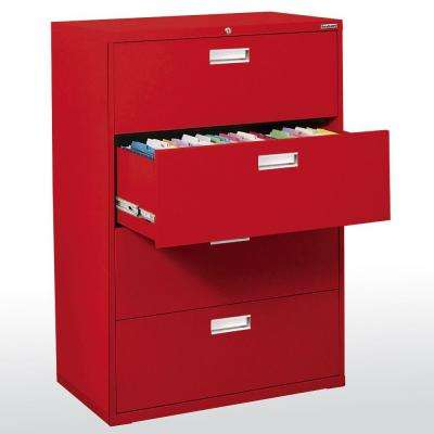 600 Series 53 in. H x 42 in. W x 19 in. D 4-Drawer Lateral File Cabinet in Red