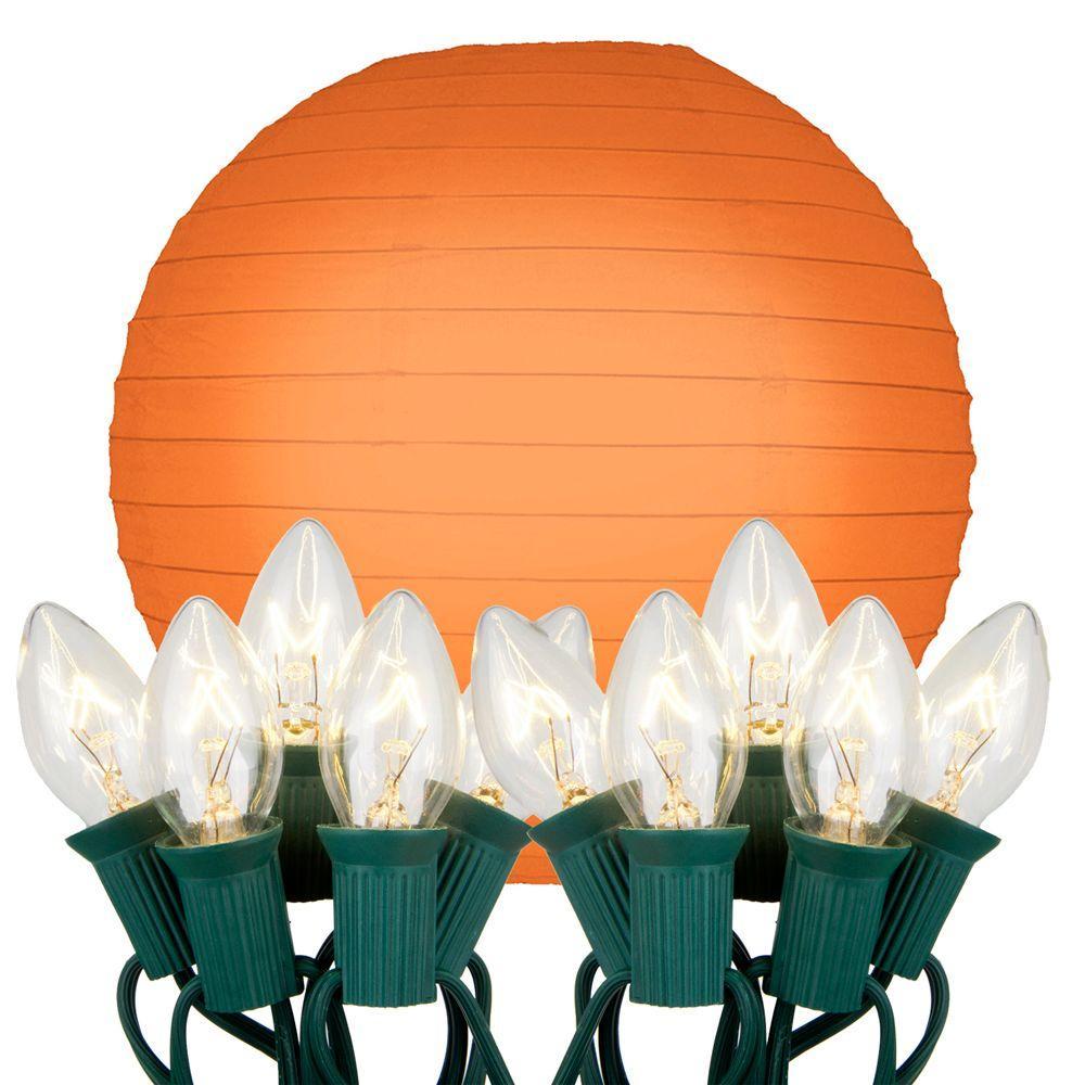 Outdoor paper lantern string lights lighting compare prices at 10 light orange paper lantern string lights aloadofball Gallery