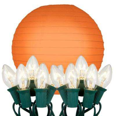 10 in. 10-Light Orange Paper Lantern String Lights