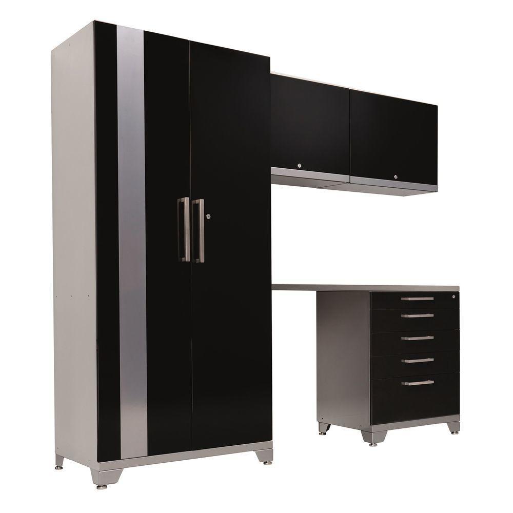 NewAge Products Performance Plus 83 in. H x 92 in. W x 24 in. D Steel Garage Storage Cabinet Set in Black (5-Piece)