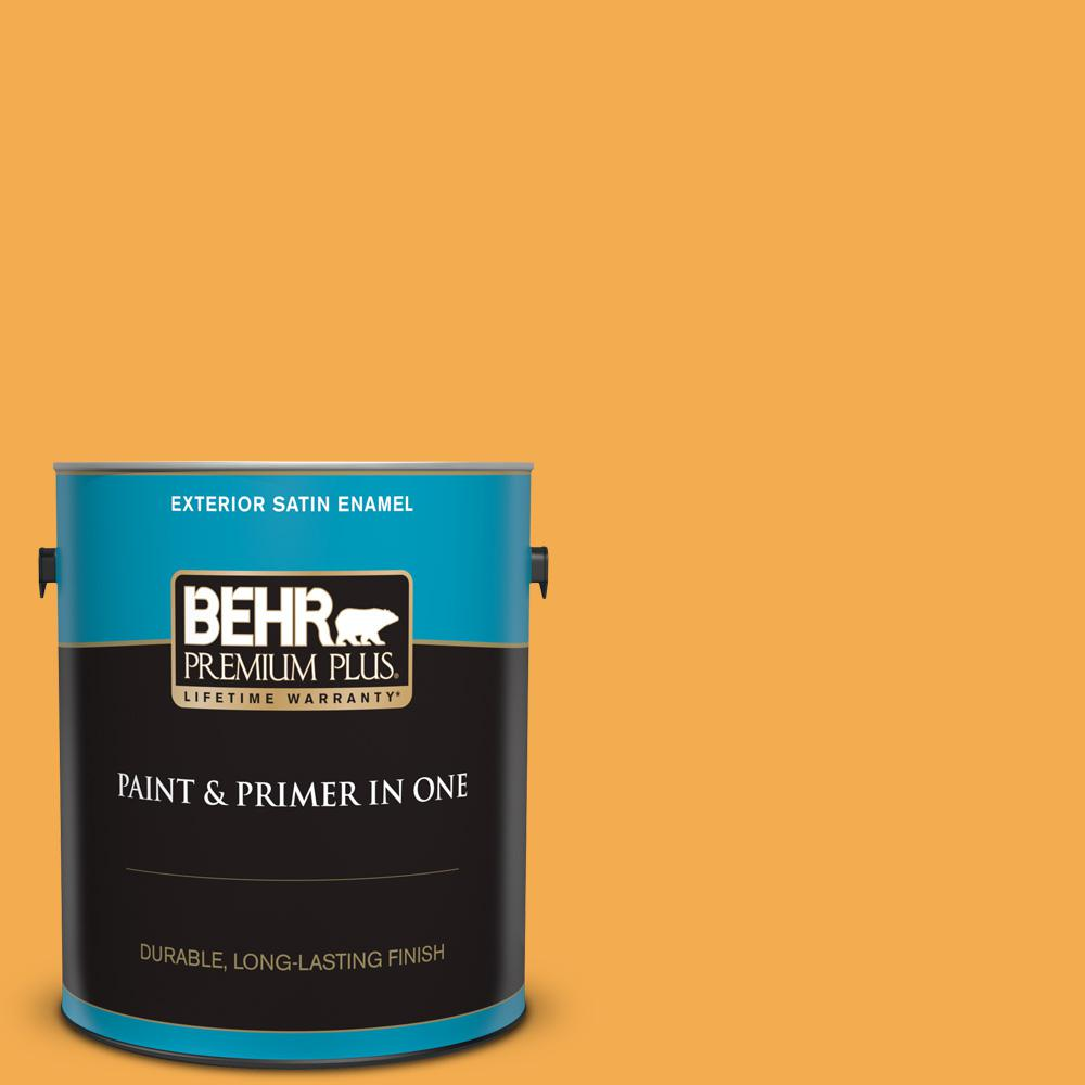 Behr Premium Plus 1 Gal 290b 6 Squash Satin Enamel Exterior Paint And Primer In One 934001 The Home Depot