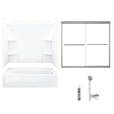 Ensemble 30 in. x 60 in. x 71 in. Bath and Shower Kit with Right-Hand Drain in White and Brushed Nickel