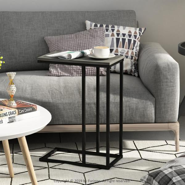 Furinno Camnus Modern Living French Oak Grey Sofa Side Table-FM19123GYW - The Home Depot