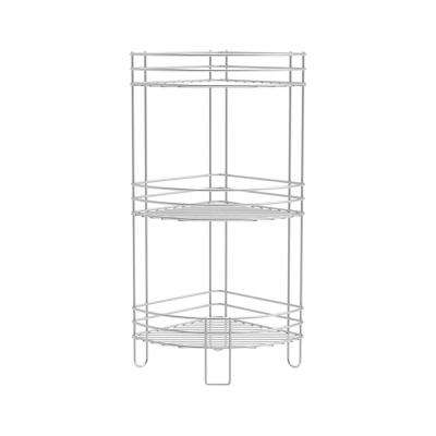 3-Tier Standing Corner Wire Shelving Unit in Silver