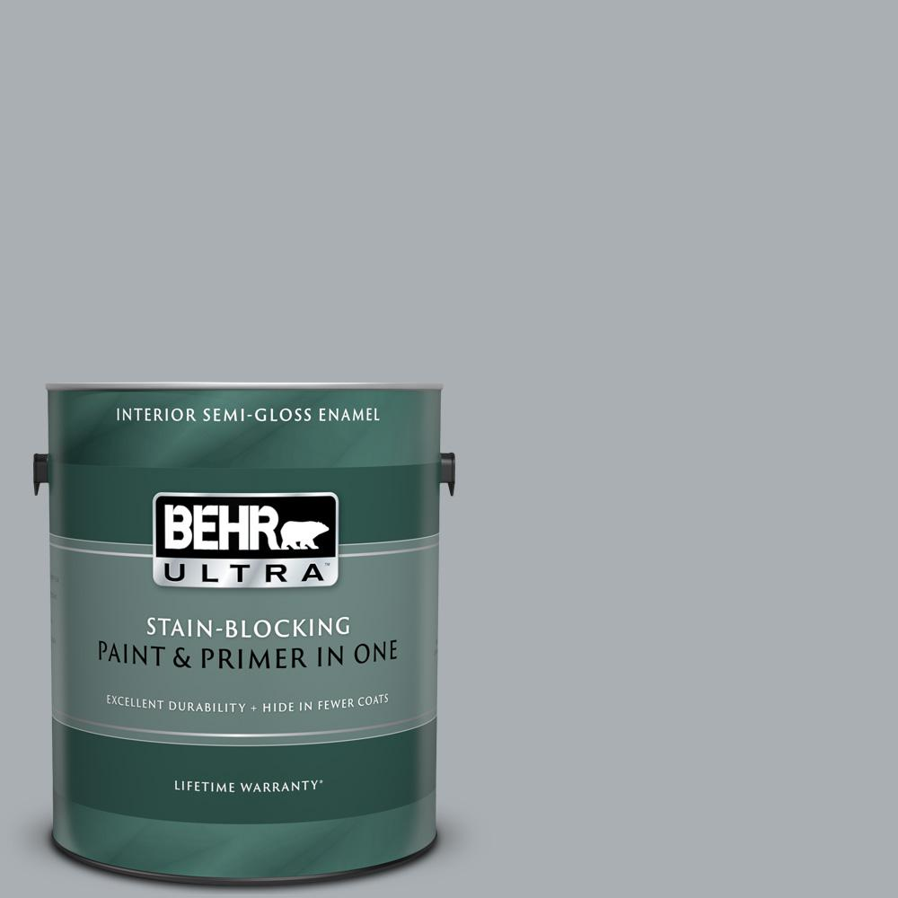 BEHR ULTRA 1 gal  #N500-3 Tin Foil Semi-Gloss Enamel Interior Paint and  Primer in One