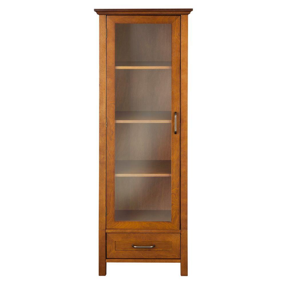 Elegant Home Fashions Aida 48-1/2 in. H x 17. in W x 13-1/2 in. D Bathroom Linen Storage Cabinet in Oil Oak