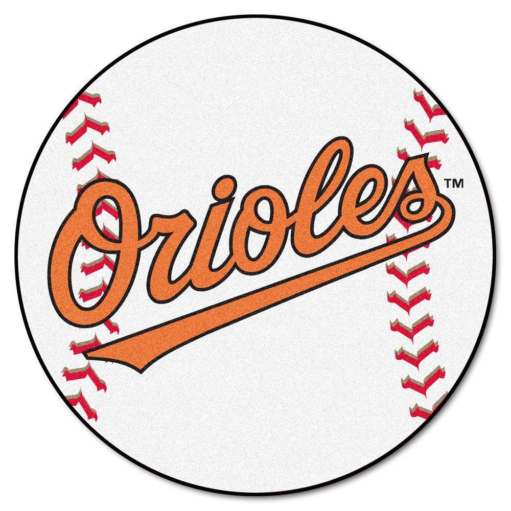 FANMATS MLB Baltimore Orioles White 2 Ft. X 2 Ft. Round