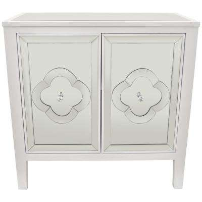 32 in. White Wood Mirror Cabinet