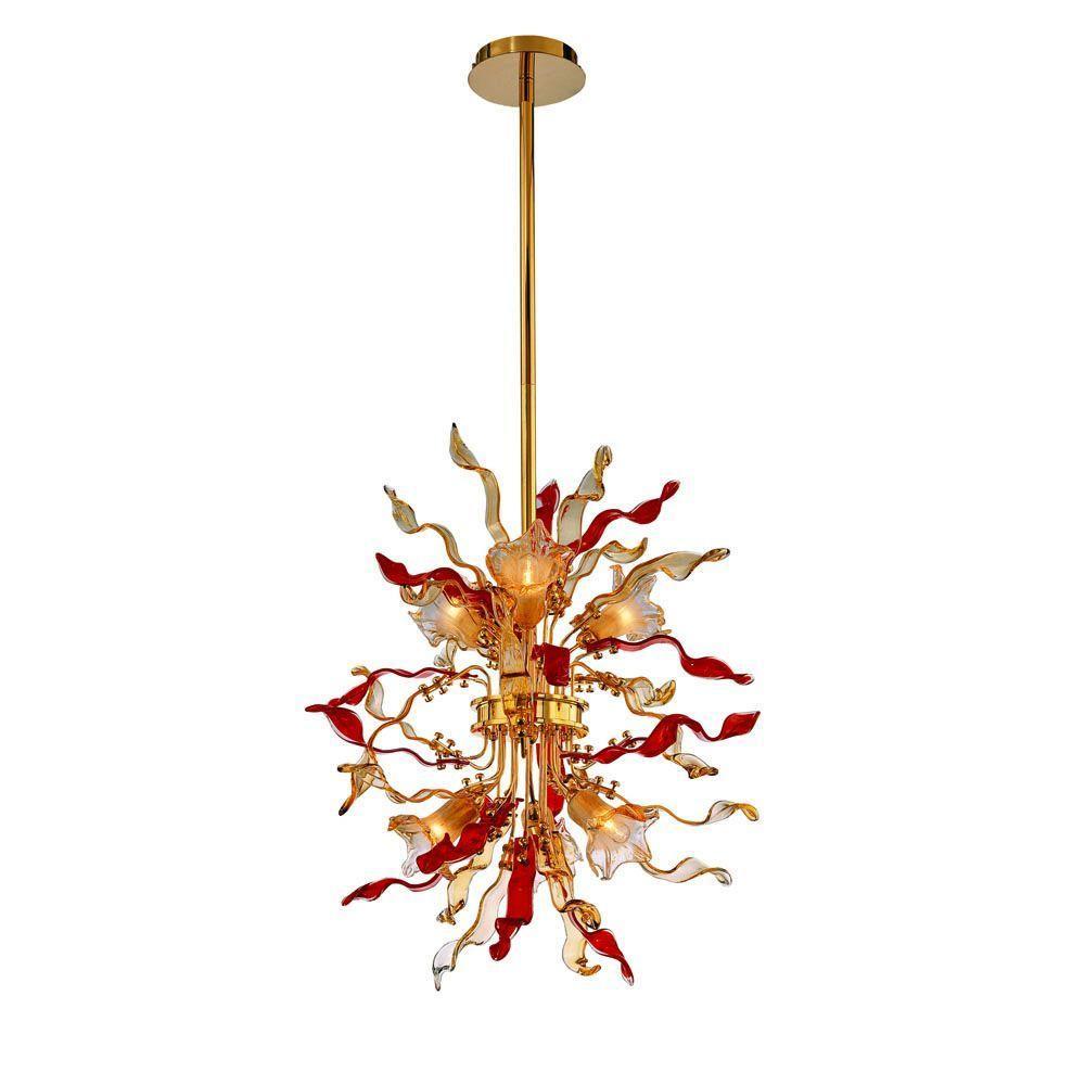 Hampton Bay Delphian 6-Light Hanging Brass Pendant-DISCONTINUED