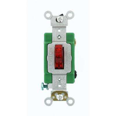 30 Amp Industrial Grade Heavy Duty Single-Pole Pilot Light Toggle Switch, Red