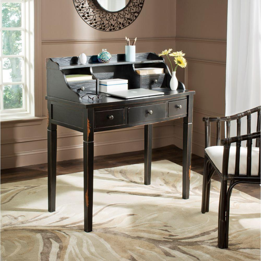 safavieh landon distressed black desk - Black Writing Desk
