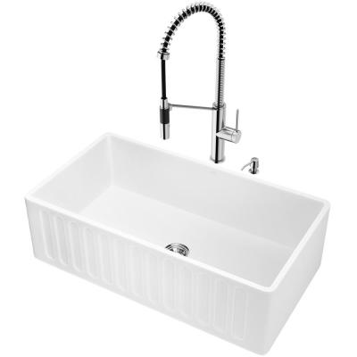 Matte Stone White Composite 33 in. Single Bowl Slotted Farmhouse Apron-Front Kitchen Sink with Faucet and Accessories