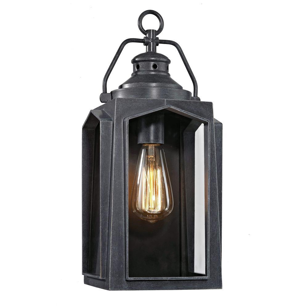 1-Light Charred Iron Medium Outdoor Wall Mount Lantern